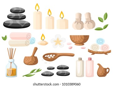 Colorful spa tools and accessories black basalt massage stones herbs mortar rolled up towel oil gel and candles vector illustration on white and blue background