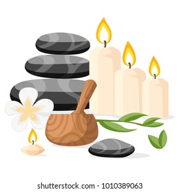 Colorful spa tools and accessories black basalt massage stones herbs mortar and candles vector illustration isolated on white background website page and mobile app design