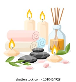 Colorful spa tools and accessories black basalt massage stones herbs rolled up towel candles and oil vector illustration on white and blue background with place for your text.