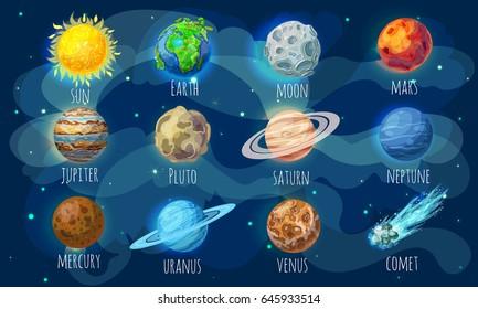 Farbige Raumelemente, untergebracht mit Sonnencomet- und Sonnensystemplaneten im Cartoon-Stil, einzelne Vektorgrafik