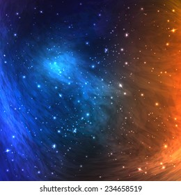 Colorful Space Galaxy Background with Light, Shining Stars, Stardust and Nebula. Vector Illustration for artworks, party flyers, posters, banners.