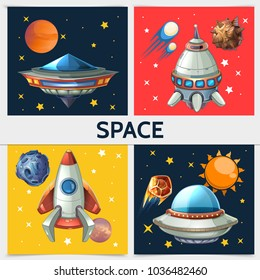 Colorful space square composition with rocket spaceship ufo sun planets asteroids meteors comets on cosmic background in cartoon style vector illustration