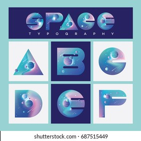 Colorful space typography letters collection with stars, planets and asteroids