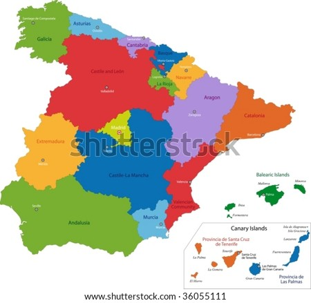 Colorful Spain Map Regions Main Cities Stock Vector (Royalty Free ...