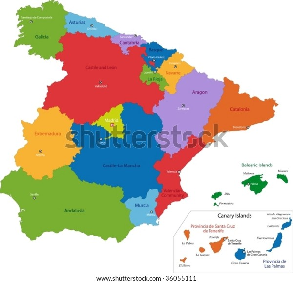 Colorful Spain Map Regions Main Cities Stock Vector (Royalty ...