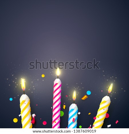 Colorful Sparkling Candles On Dark Background Birthday Anniversary Or Celebration Template