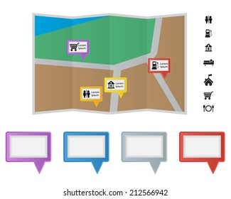 Colorful Speach Bubble Label on Map with Sign and Symbol