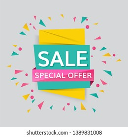 Colorful special offer sale promotion badges vector