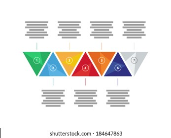 Colorful spectrum rainbow geometric triangular seven sided presentation infographic diagram chart vector graphic template with explanatory text field isolated on white background
