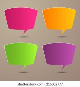 colorful speech bubble cut paper design template. Vector illustration for your business presentation.