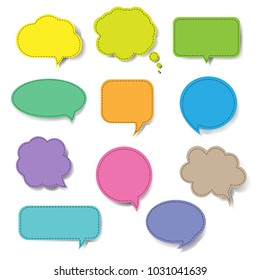 Colorful Speech Bubble Set Isolated With Gradient Mesh, Vector Illustration
