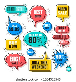 Colorful Speech bubbles for sales tag with thin black outline style