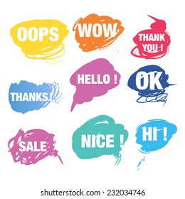 Colorful speech bubbles with text
