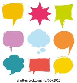 colorful speech bubbles, vector cute communication bubbles, bubble collection