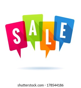 Colorful speech bubbles with the word SALE
