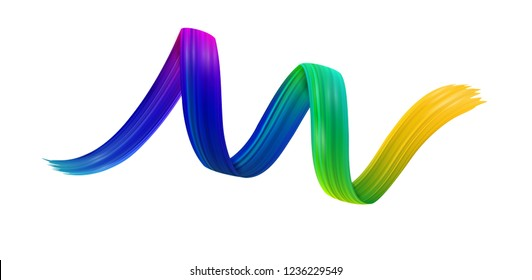 Colorful spiral brush stroke drawn on white paper background. Abstract banner. Vector art illustration.