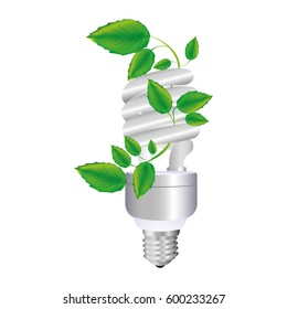colorful spiral fluorescent bulb with creeper plant vector illustration
