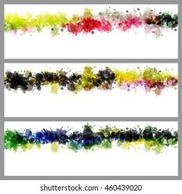 Colorful splash decorated, creative horizontal business card set on grey background.