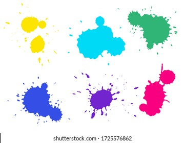 Colorful splashes collection. Yellow, red, green, blue and purple colors. Different shapes and many splashes. Bright fancy colours. Isolated on white background.