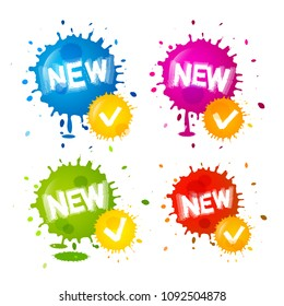 Colorful Splashes - New Labels. Vector Business Painted Icons with Blots. Product Tags Isolated on White Background.