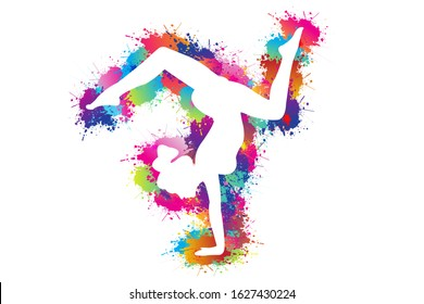 Colorful sport background. Yoga logo design. Ballerina in dance. Girl gymnast in gymnastic. Silhouettes, Exercises, Fitness, Healthcare, Medical, Icon, Symbol. Vector illustration.