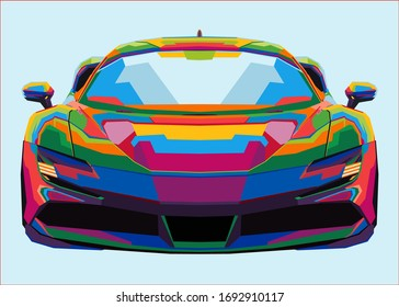 colorful sport car on pop art
