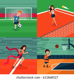 Colorful sport square composition with football tennis athletic basketball players and athletes vector illustration