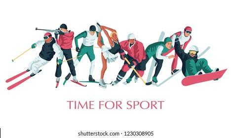 Colorful sportsmen, athletes set. Winter sport. Hockey, biathlon, snowboarding, skating, ice skiing, figure, freestyle. Vector illustration
