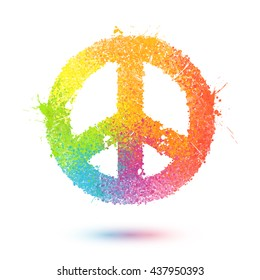 Colorful sprayed effect paint splashes vector pacific symbol