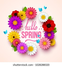 Colorful spring background with beautiful flowers. Vector illustration