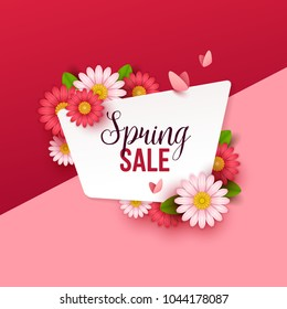 Colorful spring background with beautiful flowers. Vector illustration.