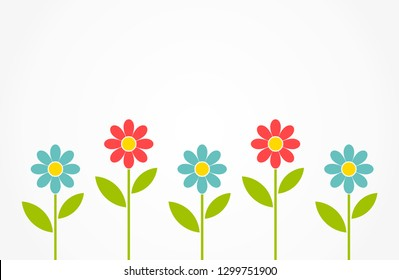 Colorful spring daisy flowers background. Vector illustration