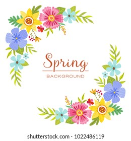 Colorful spring floral design corners. Perfect for greeting cards and invitation designs. Vector illustration.
