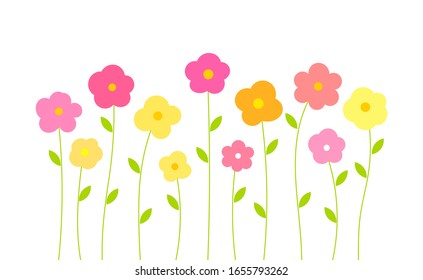 Colorful spring flowers isolated on white background. Vector illustration.