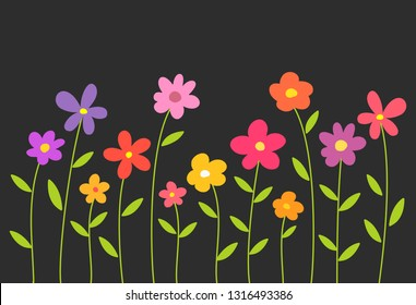 Colorful spring flowers on black background. Vector illustration,
