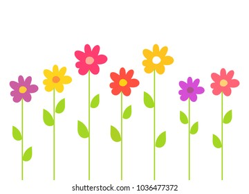 Colorful spring flowers. Vector illustration