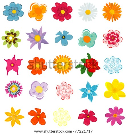 Colorful Spring Flowers Vector Illustration Stock Vektorgrafik