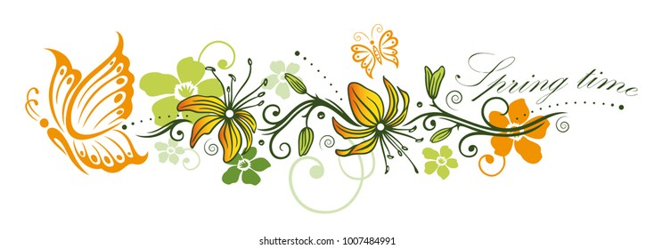 Colorful spring time flowers with butterflies.