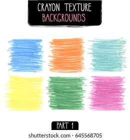 Colorful square backgrounds by crayon set. Hand drawn kids scribble style. Vector illustration.