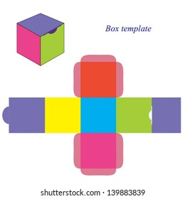 Colorful square box template with lid. Vector illustration.