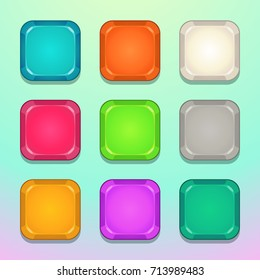 Colorful square buttons set. Vector assets for web or game design.