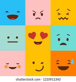 Colorful square emojis set vector