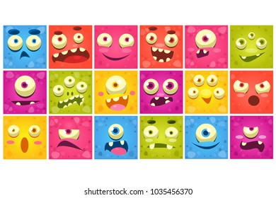 Colorful square funny face of monsters with different emotions vector Illustrations, smiles characters for site, video, animation, websites, infographics, messages, comics, newsletters
