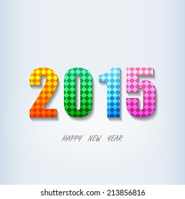 colorful square pattern happy new year 2015 fonts on white background (vector)