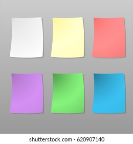 Colorful square stick note isolated on white background. Vector illustration