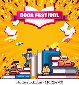 Colorful stacks of books with people reading on orange poster with banner promoting Book Festival