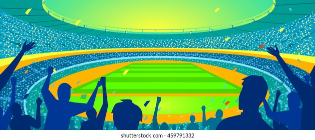 Colorful stadium with a crowd, Vector illustration.