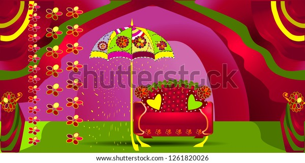 Colorful Stage Decoration Bride Groom Sangeet Stock Vector