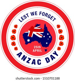 Colorful stamp/badge/logo/banner for Anzac day. Anzac Day is a national day of remembrance in Australia.
