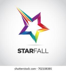 Colorful Star Fall Logo Design Symbol